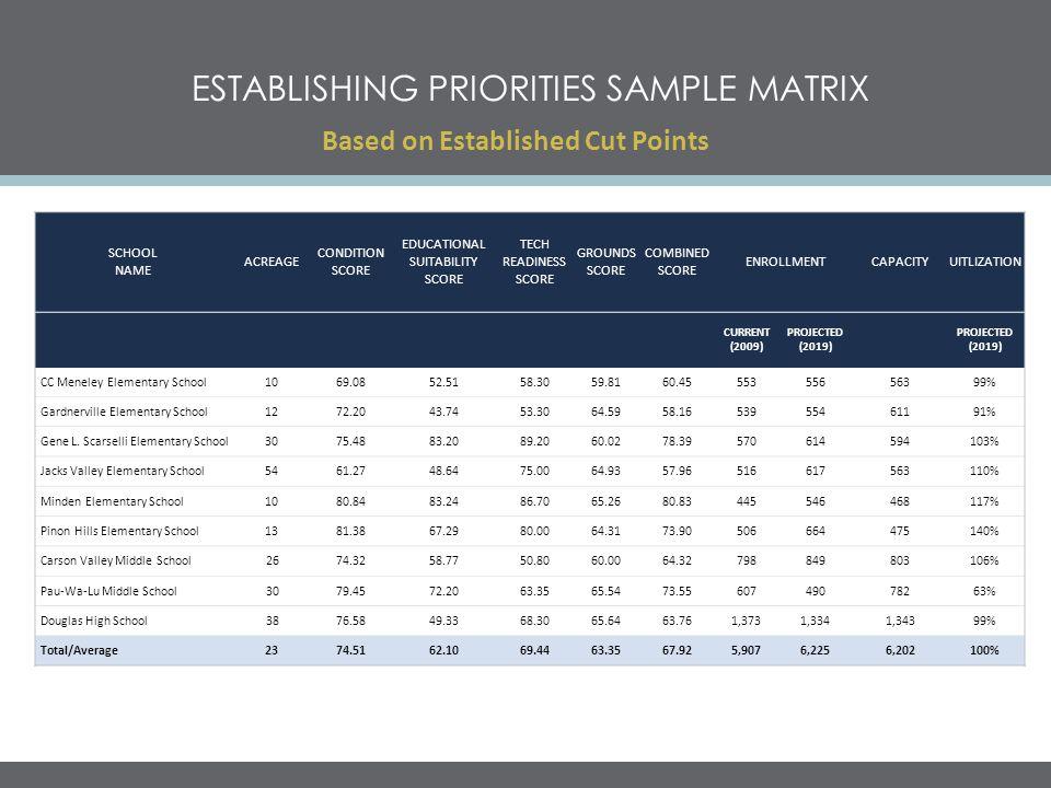 Establishing priorities sample matrix