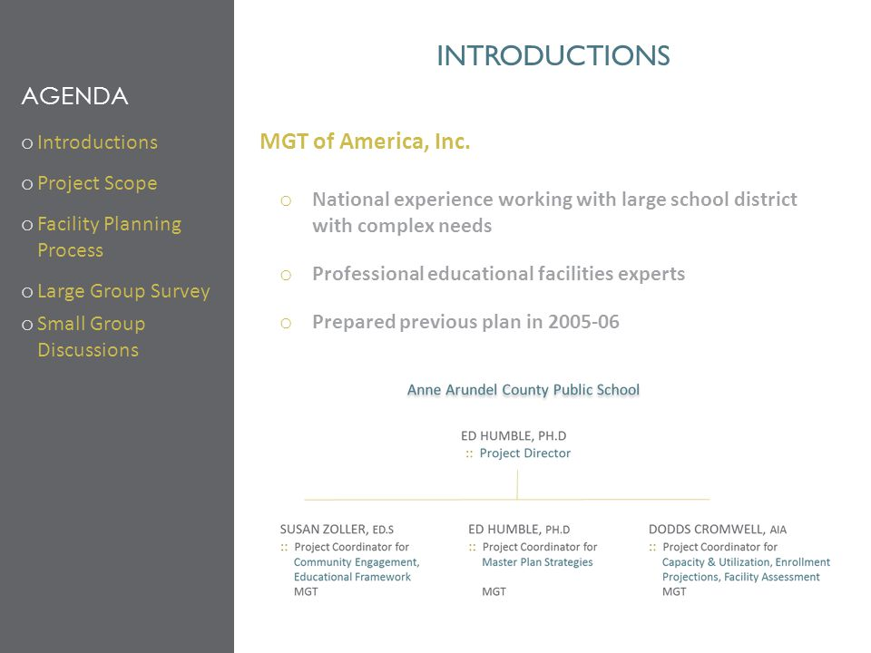 introductions Agenda MGT of America, Inc. Introductions Project Scope