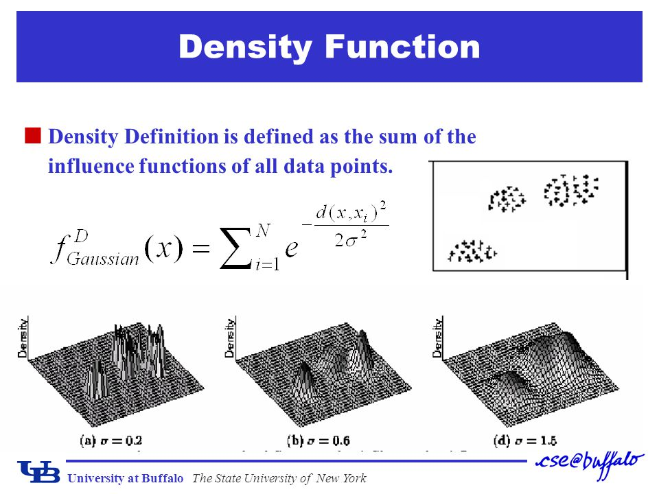 Density Function Density Definition is defined as the sum of the influence functions of all data points.