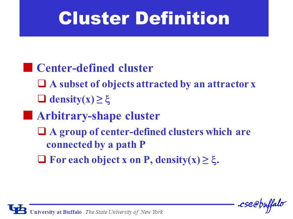 Cluster Definition Center-defined cluster Arbitrary-shape cluster