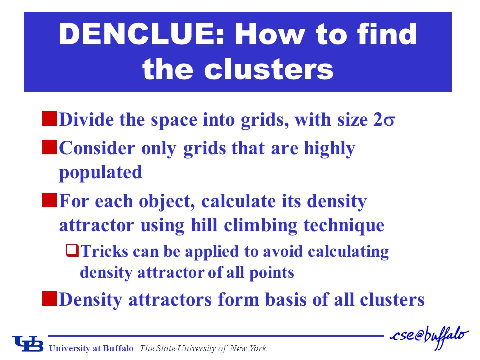 DENCLUE: How to find the clusters