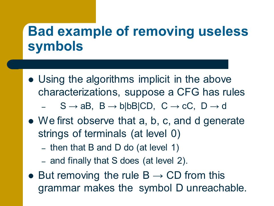 Bad example of removing useless symbols