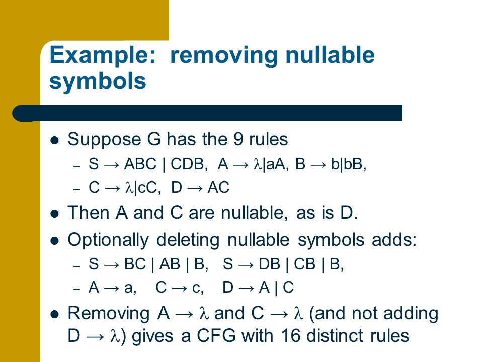 Example: removing nullable symbols