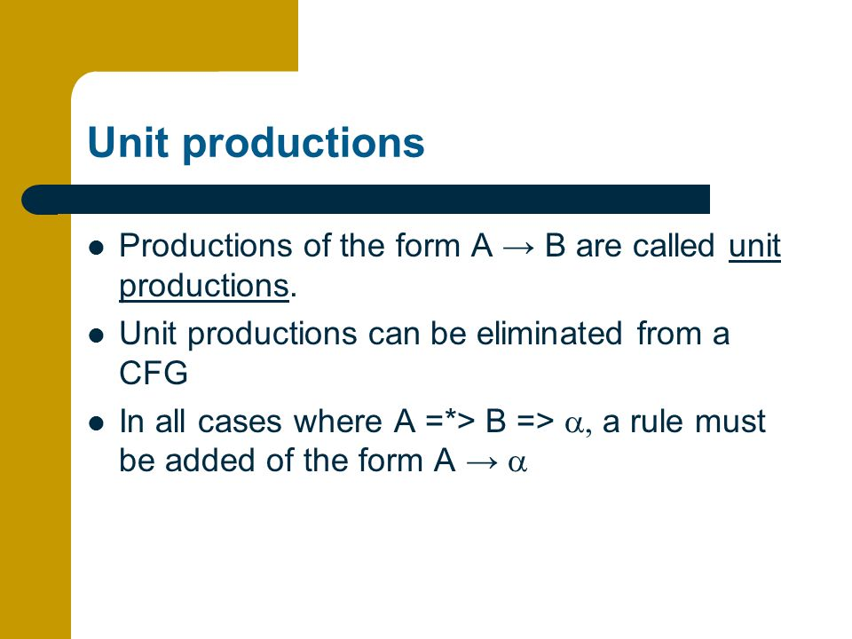 Unit productions Productions of the form A → B are called unit productions. Unit productions can be eliminated from a CFG.