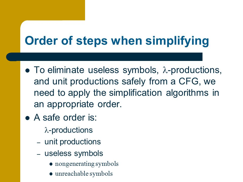 Order of steps when simplifying