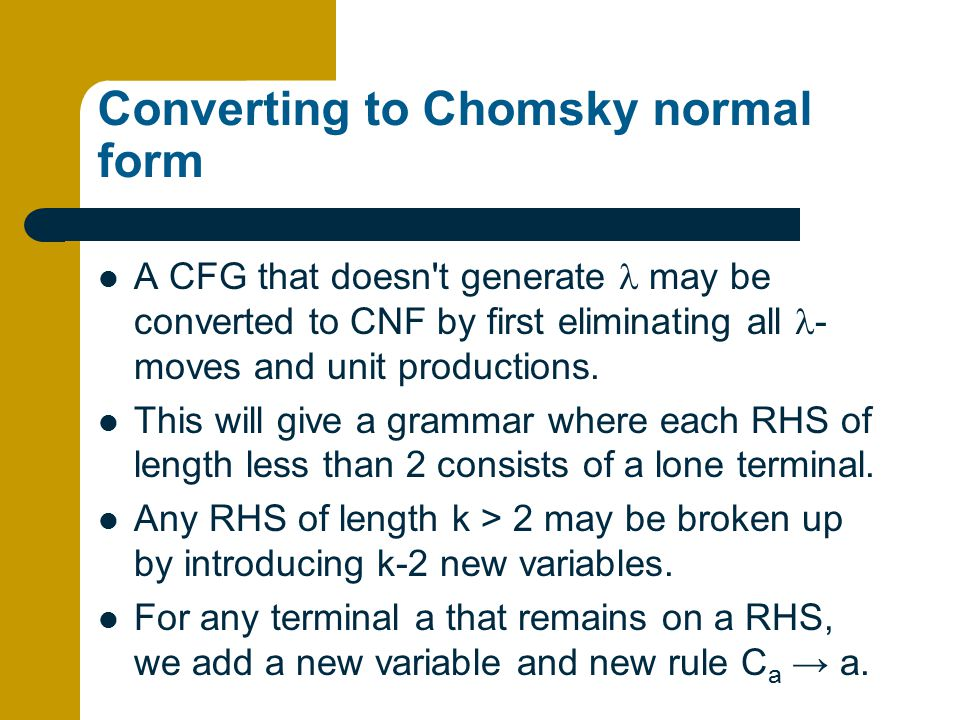 Converting to Chomsky normal form