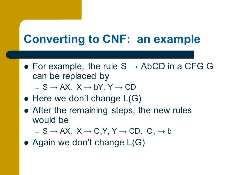 Converting to CNF: an example