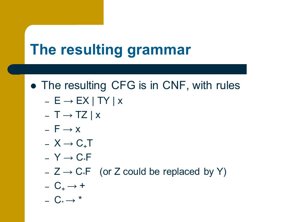 The resulting grammar The resulting CFG is in CNF, with rules