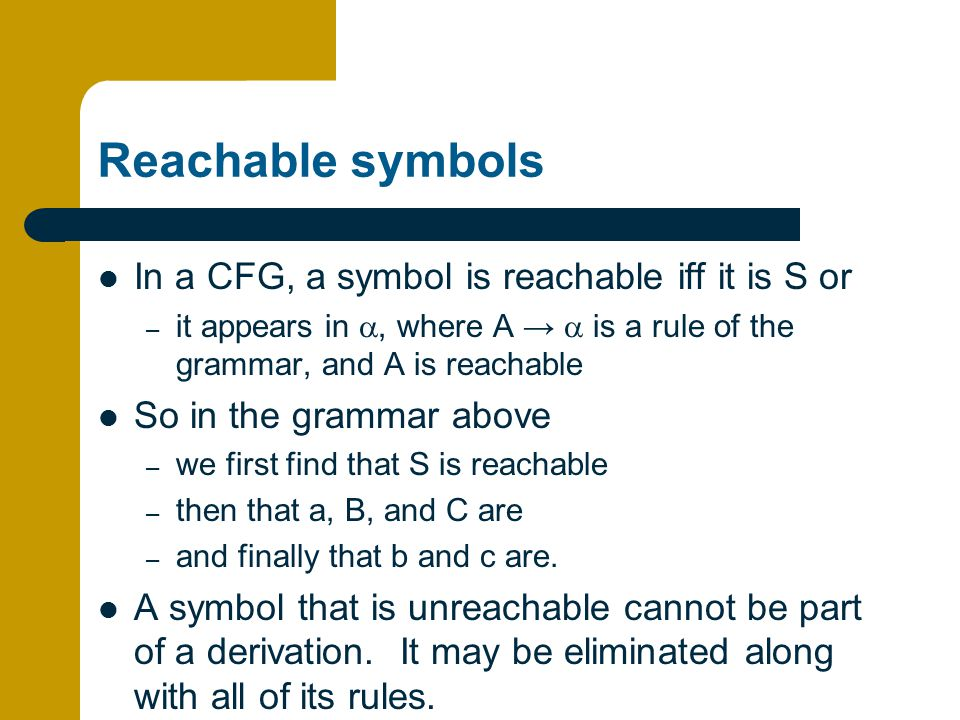 Reachable symbols In a CFG, a symbol is reachable iff it is S or
