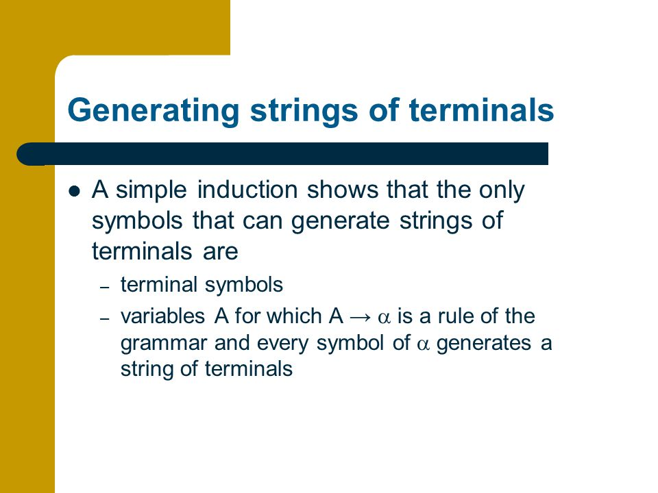 Generating strings of terminals