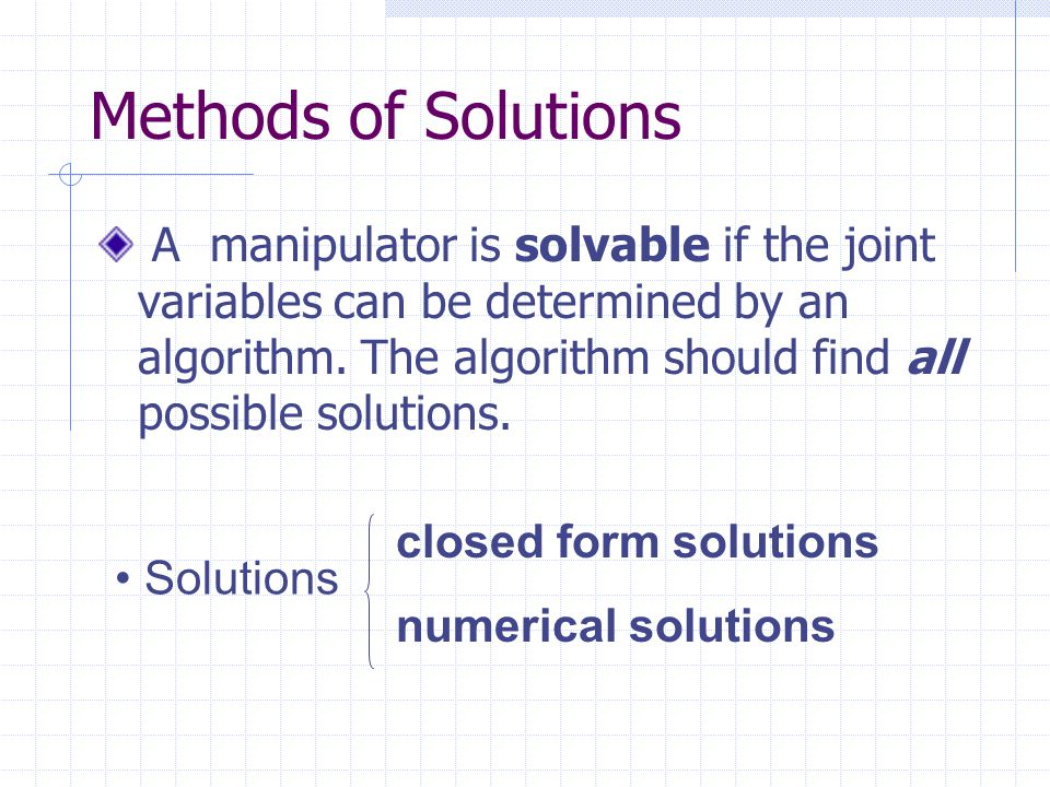 Methods of Solutions