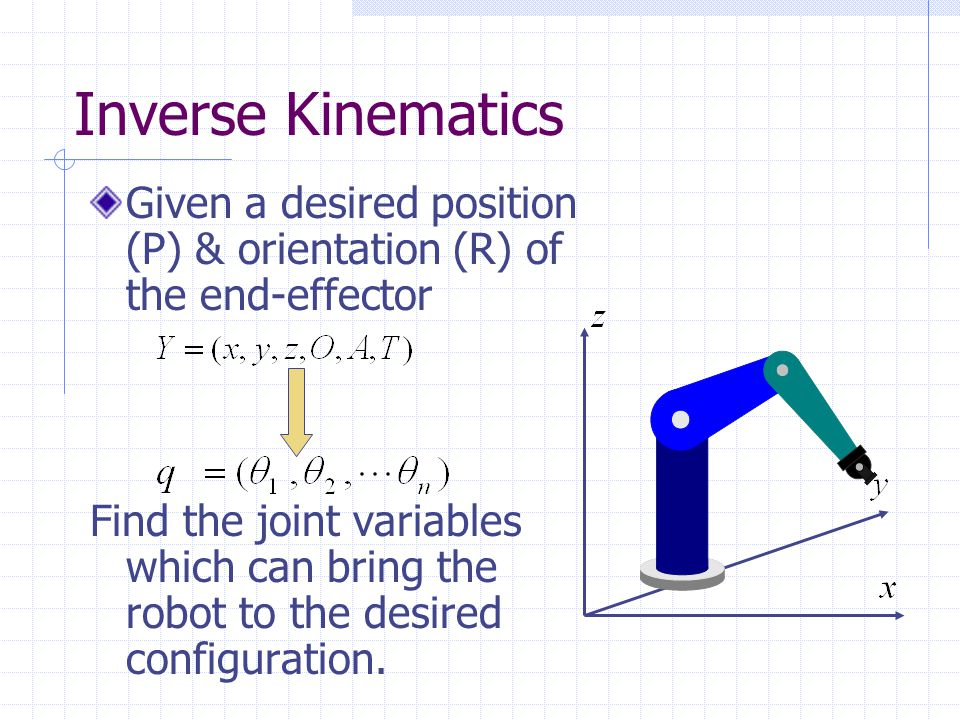 Inverse Kinematics Given a desired position (P) & orientation (R) of the end-effector.