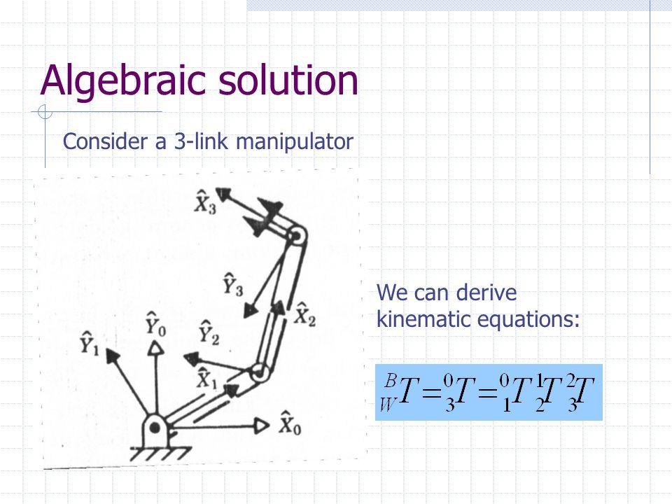 Algebraic solution Consider a 3-link manipulator