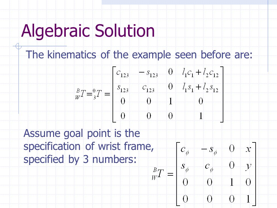 Algebraic Solution The kinematics of the example seen before are: