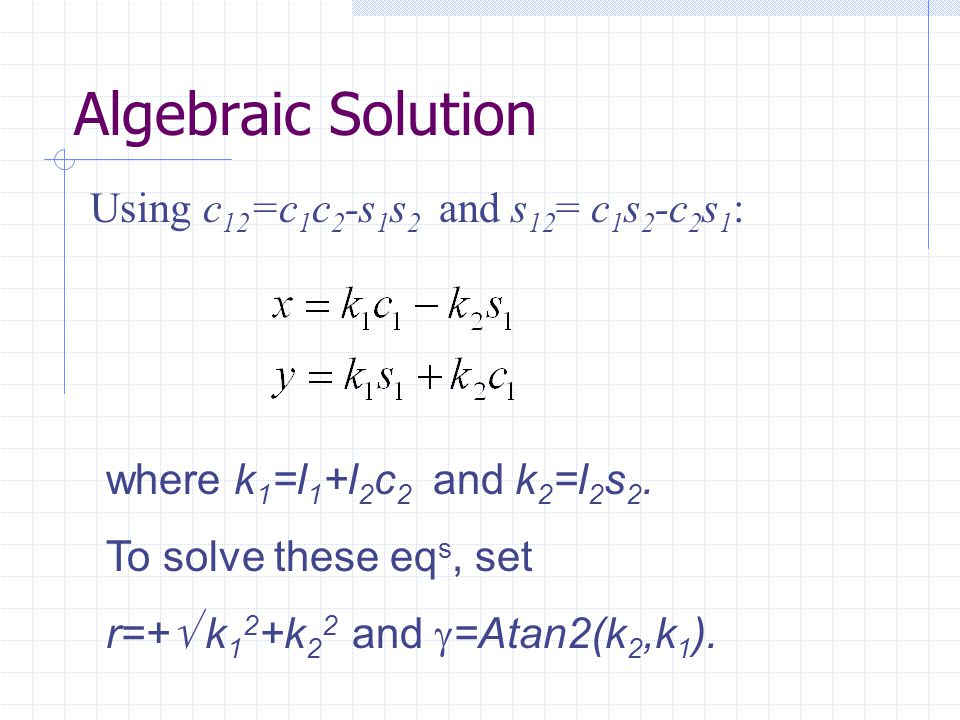 Algebraic Solution Using c12=c1c2-s1s2 and s12= c1s2-c2s1: