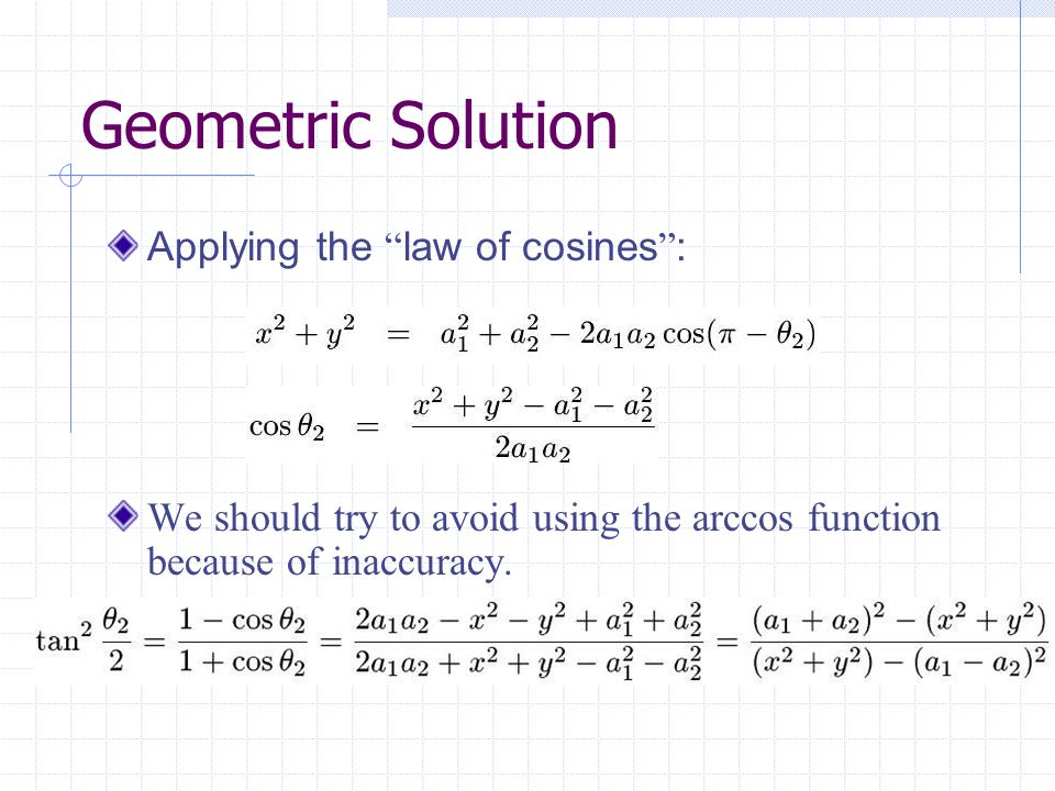 Geometric Solution Applying the law of cosines :