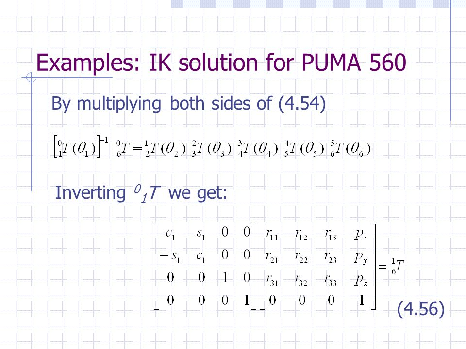 Examples: IK solution for PUMA 560