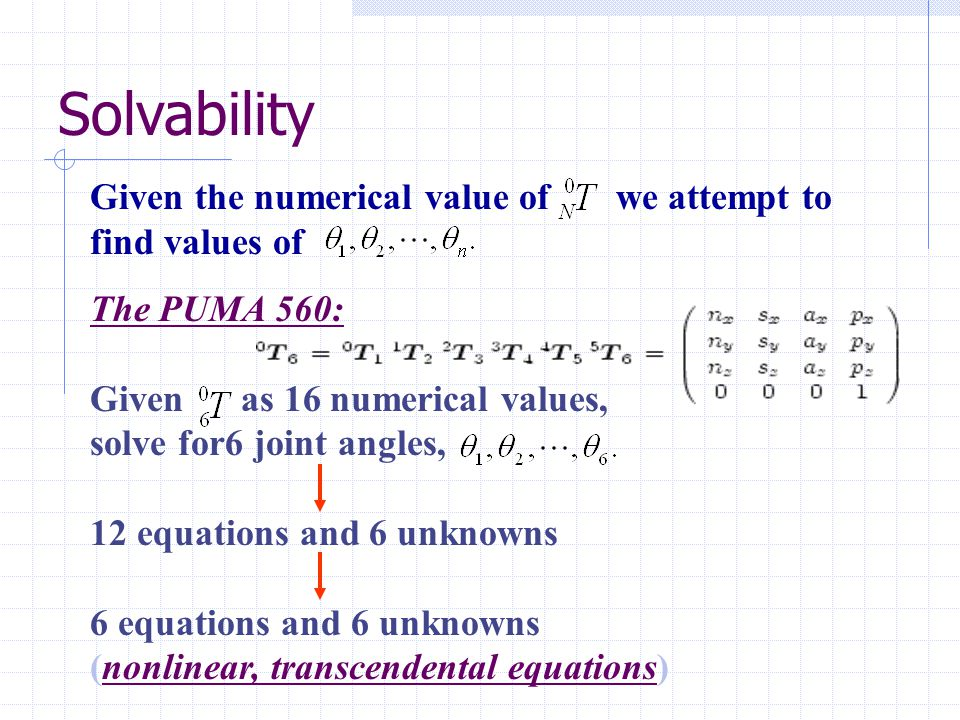 Solvability Given the numerical value of we attempt to find values of