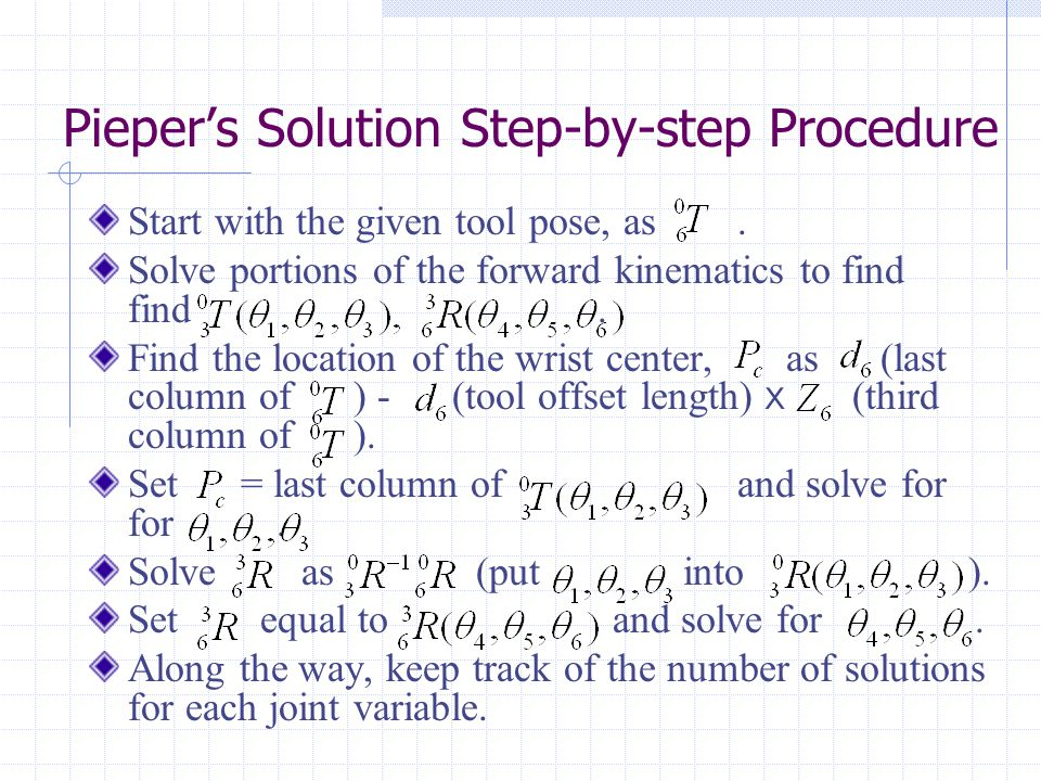 Pieper's Solution Step-by-step Procedure