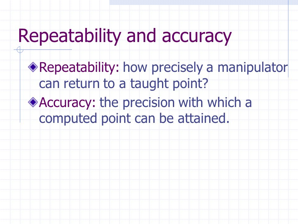 Repeatability and accuracy