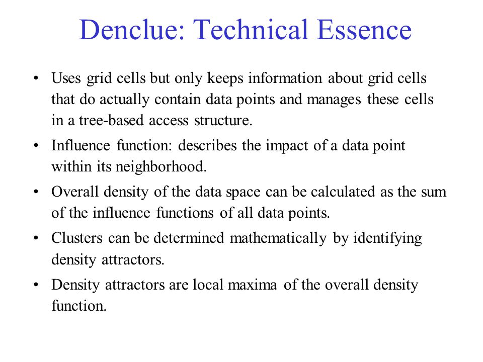 Denclue: Technical Essence