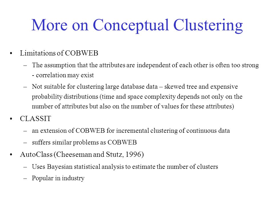 More on Conceptual Clustering