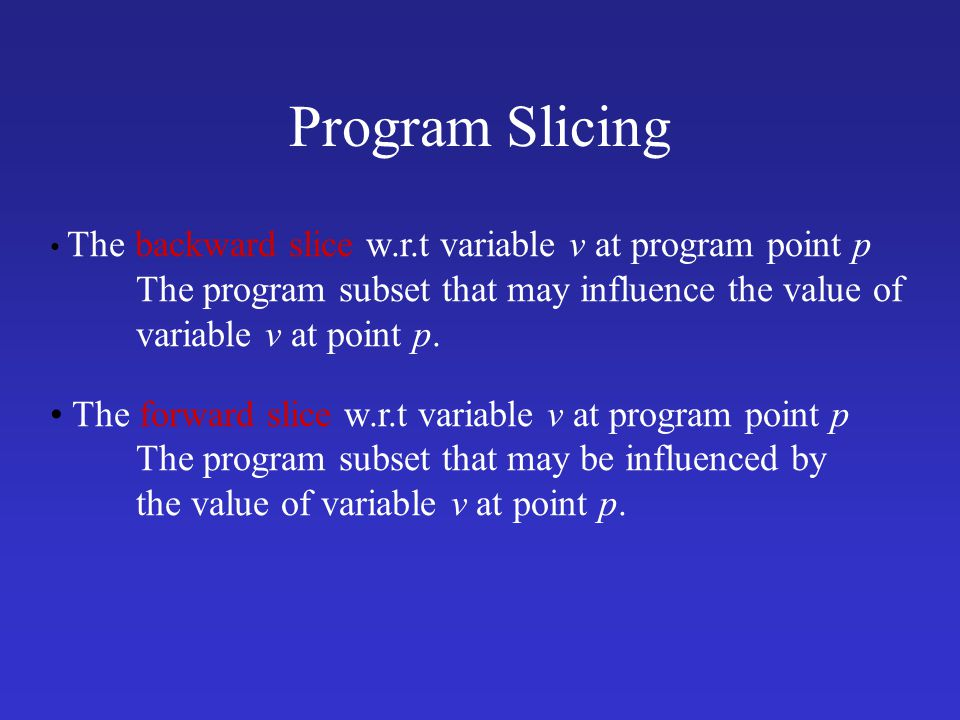 Program Slicing variable v at point p.