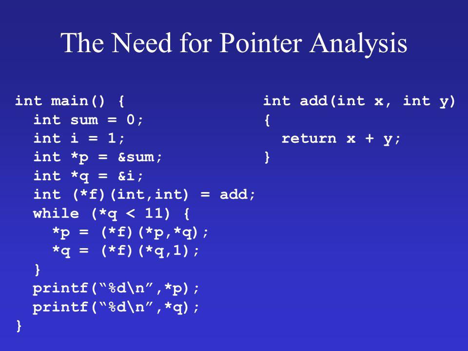 The Need for Pointer Analysis