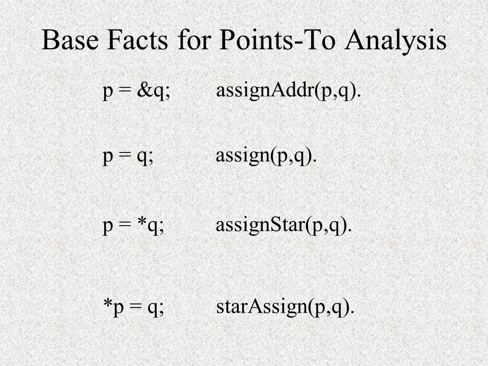 Base Facts for Points-To Analysis