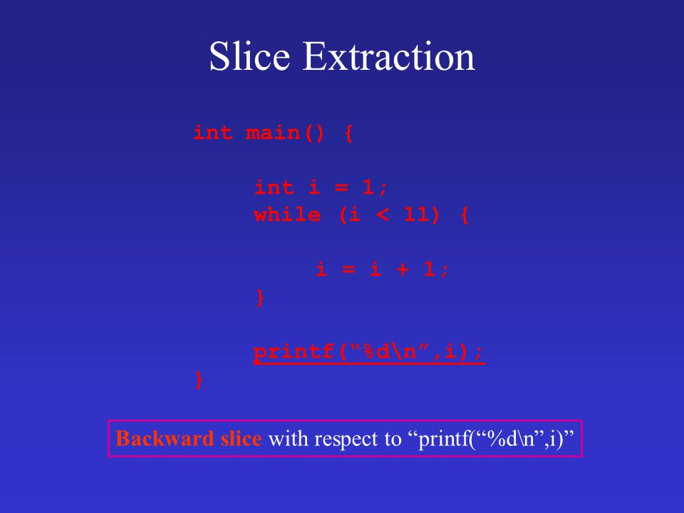 Backward slice with respect to printf( %d\n ,i)
