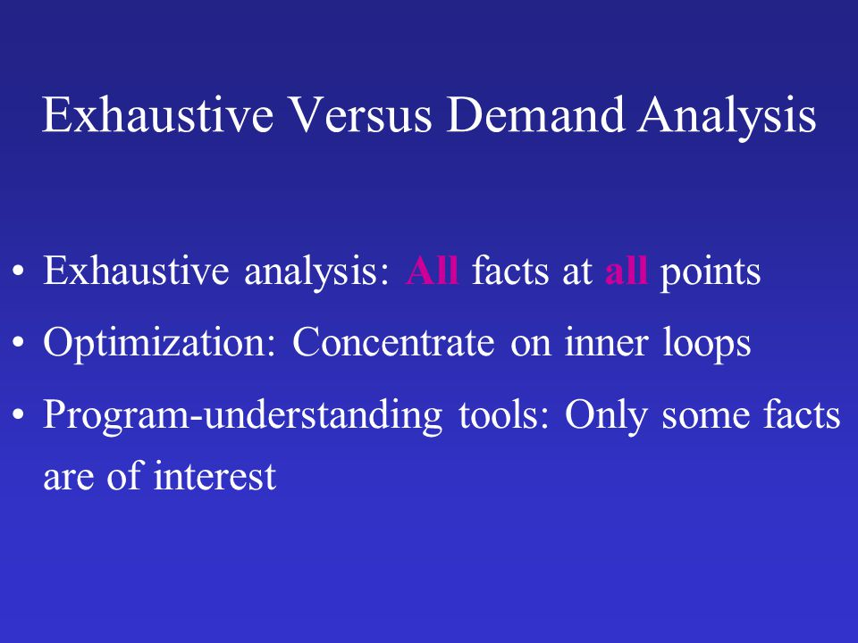 Exhaustive Versus Demand Analysis
