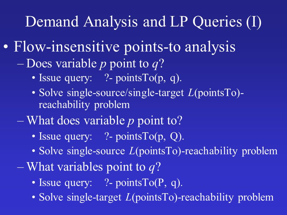 Demand Analysis and LP Queries (I)