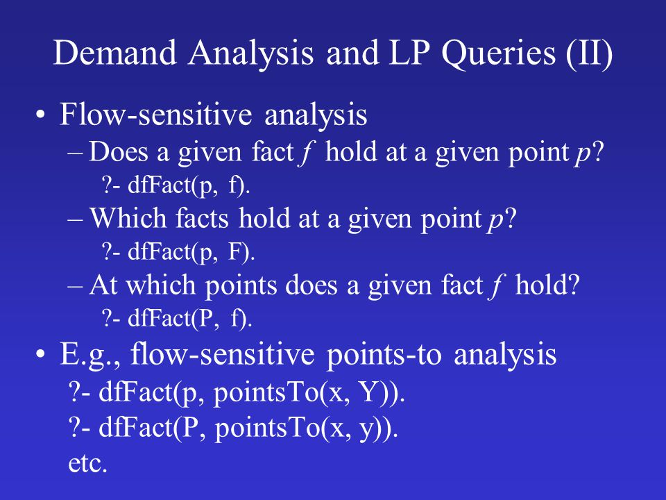 Demand Analysis and LP Queries (II)