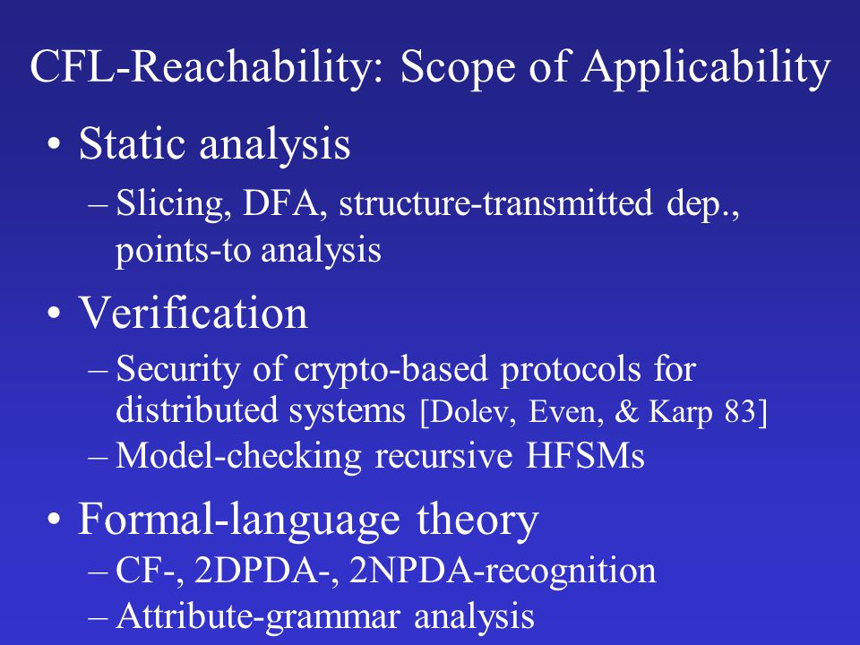 CFL-Reachability: Scope of Applicability