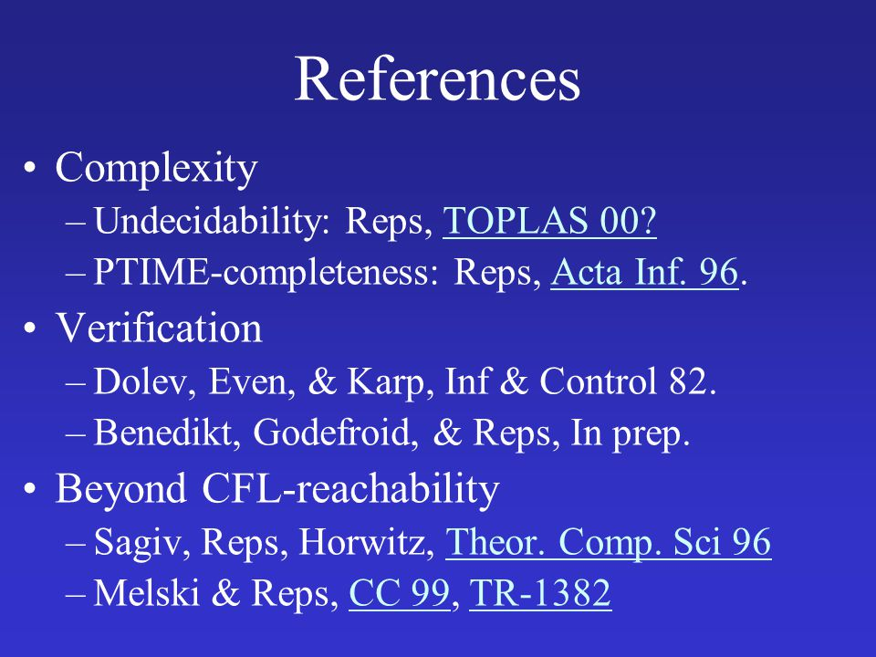 References Complexity Verification Beyond CFL-reachability