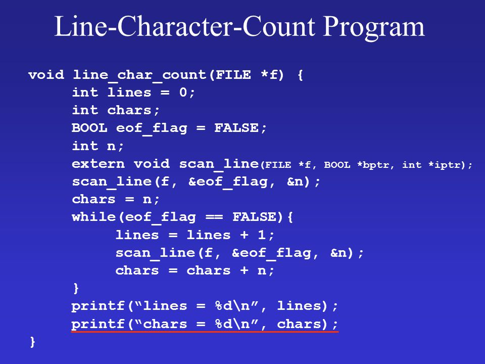 Line-Character-Count Program