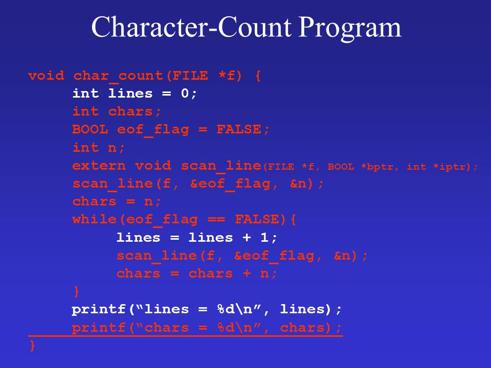 Character-Count Program