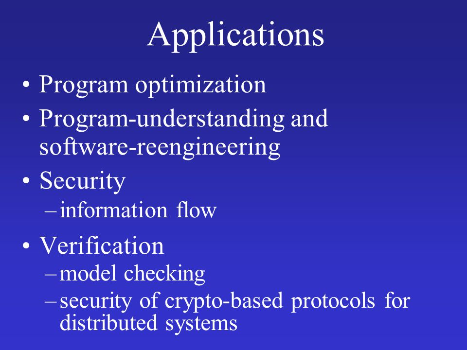 Applications Program optimization