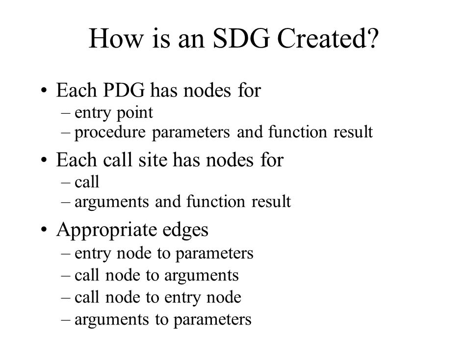How is an SDG Created Each PDG has nodes for