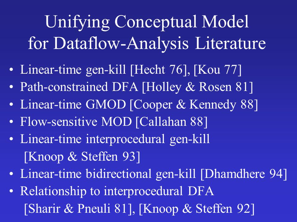 Unifying Conceptual Model for Dataflow-Analysis Literature