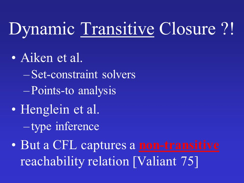 Dynamic Transitive Closure !