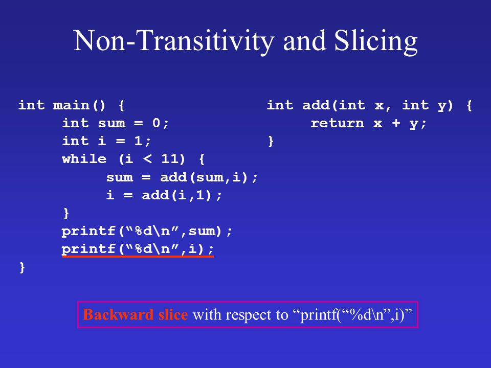 Non-Transitivity and Slicing