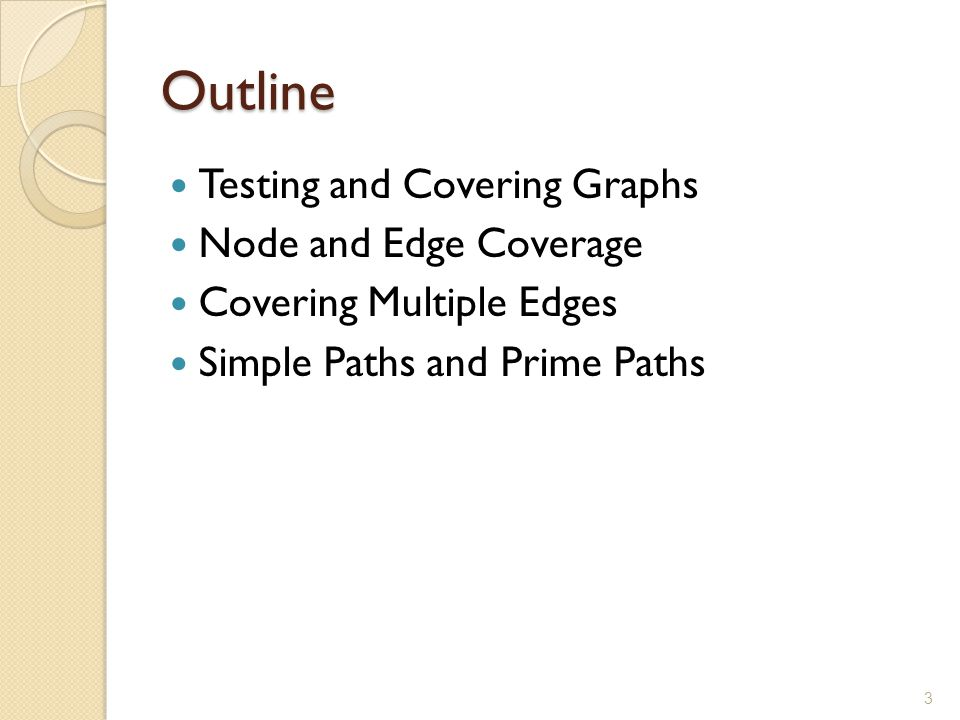 Outline Testing and Covering Graphs Node and Edge Coverage