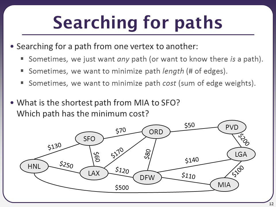 Searching for paths Searching for a path from one vertex to another: