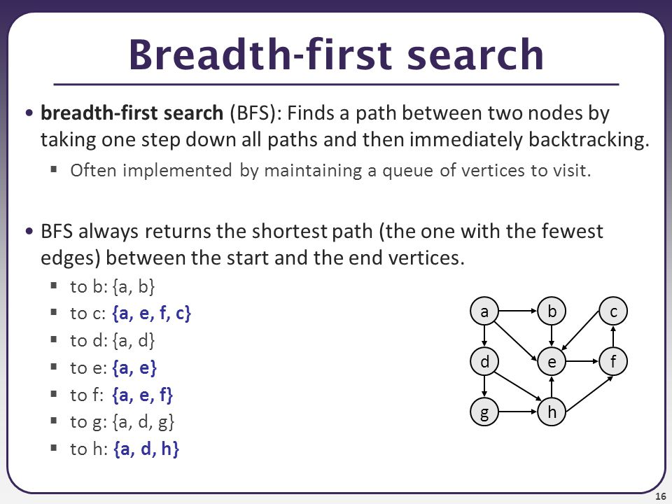 Breadth-first search breadth-first search (BFS): Finds a path between two nodes by taking one step down all paths and then immediately backtracking.