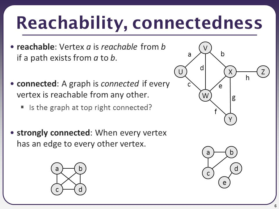 Reachability, connectedness