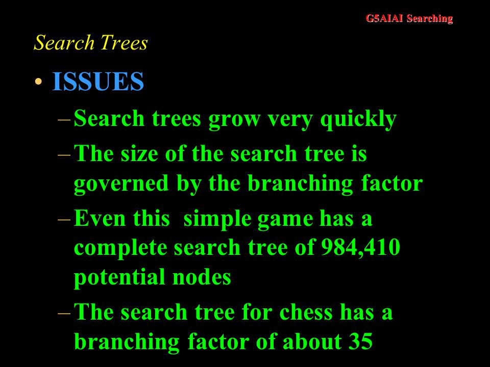 ISSUES Search trees grow very quickly