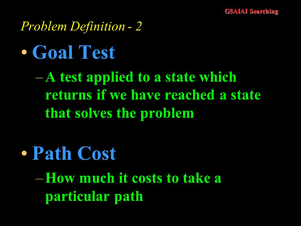 Problem Definition - 2 Goal Test. A test applied to a state which returns if we have reached a state that solves the problem.