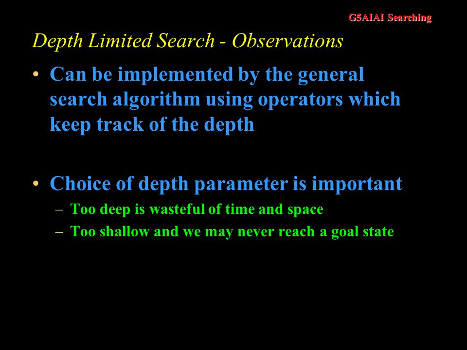 Depth Limited Search - Observations