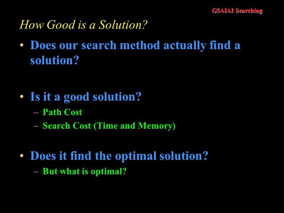 Does our search method actually find a solution